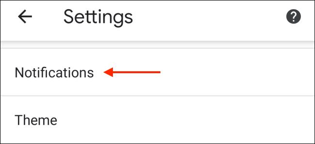 Toca Notificaciones desde la configuración de Chrome