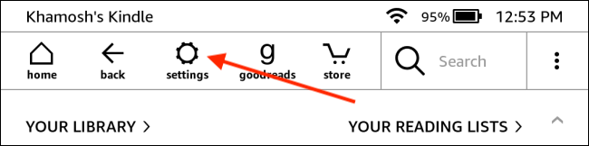Toque Configuración en la página de inicio de Kindle
