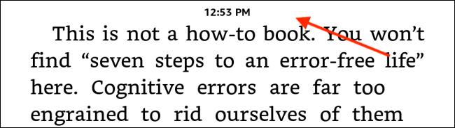 Toque la mitad superior de la pantalla de Kindle