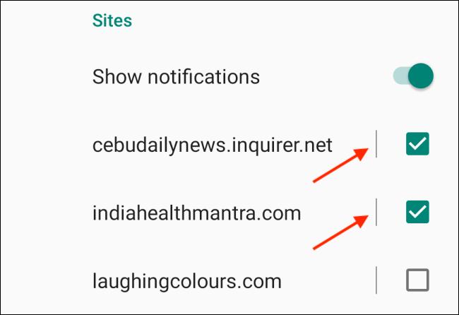 Desmarque los sitios web para deshabilitar las notificaciones