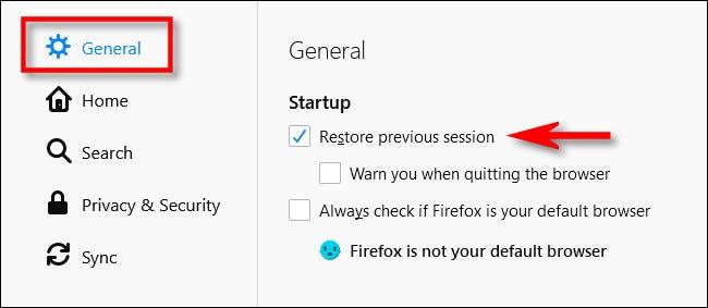 """En Opciones de Firefox, coloque una marca de verificación junto a """"Restaurar sesión anterior""""."""