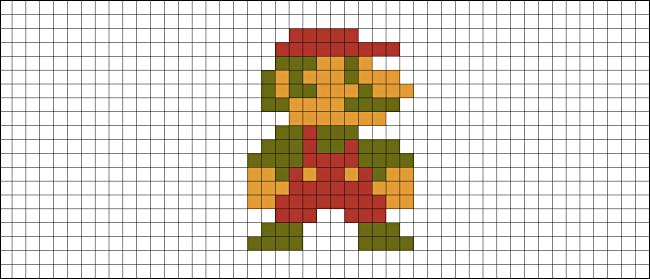 Un mapa de bits de Mario de Super Mario Bros. en NES.