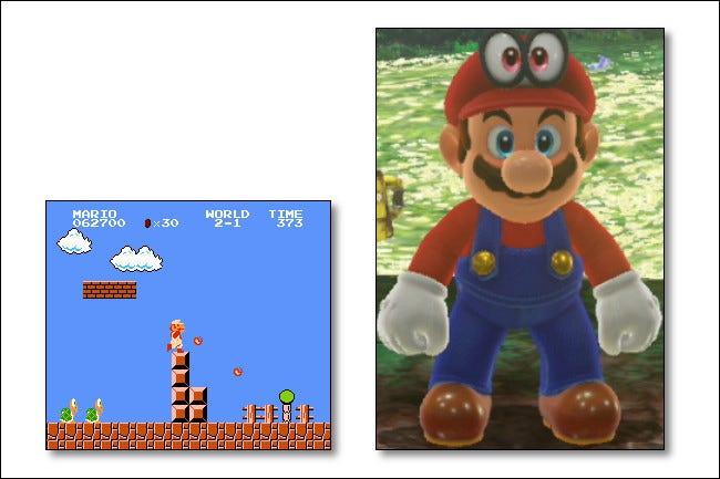 El Mario de hoy en Mario Odyssey usa más píxeles que toda la resolución del sistema NES.
