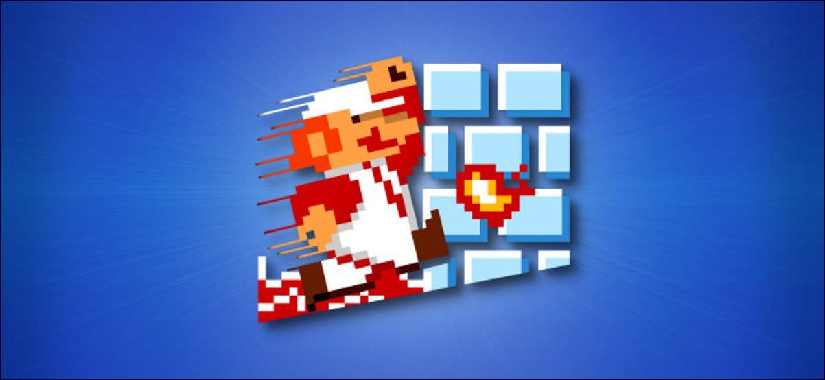 Extracto del arte de la caja de Super Mario Bros pixelado sobre un fondo azul