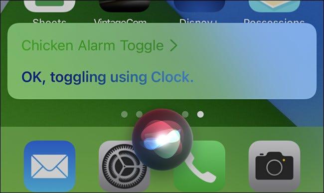 Después de iniciar el acceso directo, Siri mostrará una confirmación en la pantalla de su iPhone.