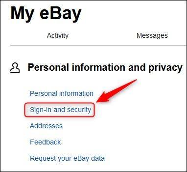 """Opción de menú """"Inicio de sesión y seguridad"""" de eBay."""