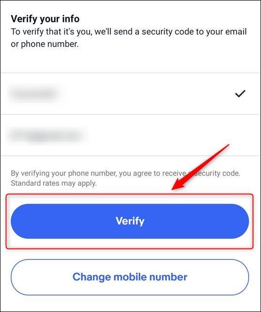 """La elección del número de teléfono y la dirección de correo electrónico, y el botón """"Verificar"""""""