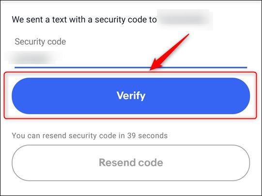 """El cuadro de texto de entrada de código y el botón """"Verificar"""""""