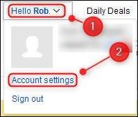 """Opción de menú """"Configuración de la cuenta"""" de eBay."""