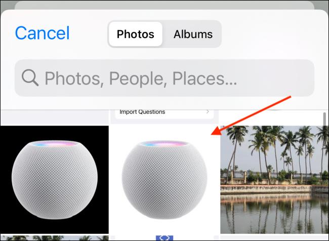 Seleccione el icono de HomePod en Fotos