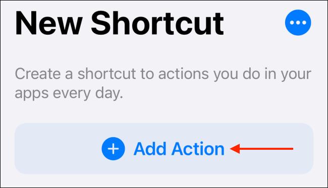 Toque Agregar acción en Accesos directos