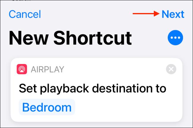 Toque Siguiente desde el acceso directo de HomePod
