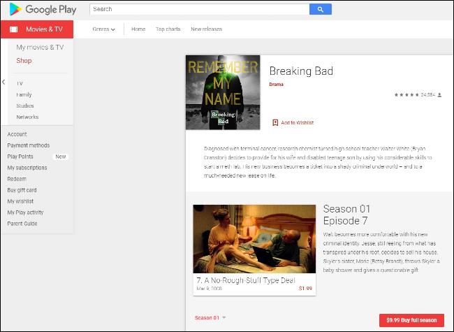 Breaking Bad en Google Play
