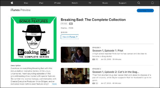 Breaking Bad en iTunes