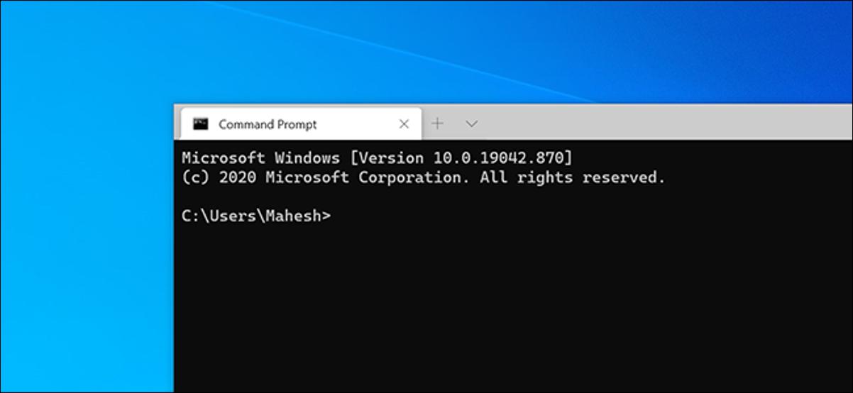 Terminal de Windows con un shell de símbolo del sistema.
