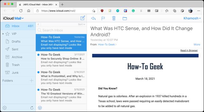 iCloud Mail en el navegador