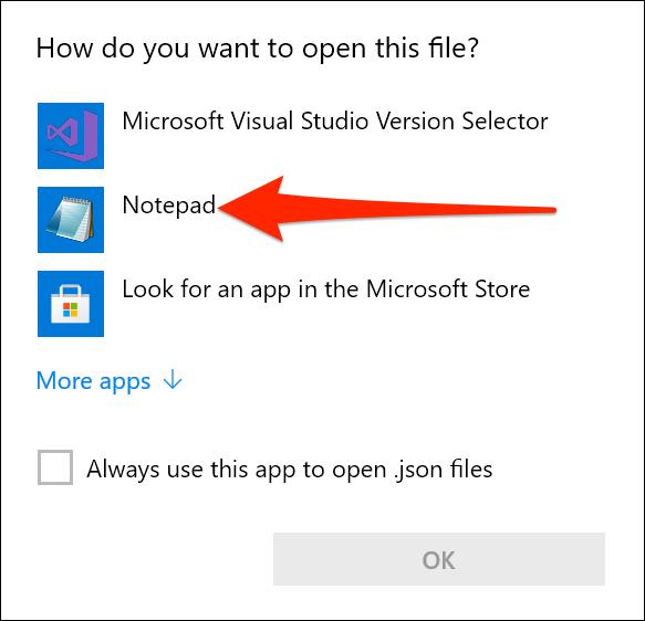 Abra la configuración de Windows Terminal en el Bloc de notas