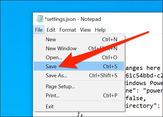 Guardar la configuración del terminal de Windows