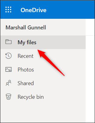 Pestaña Mis archivos en OneDrive