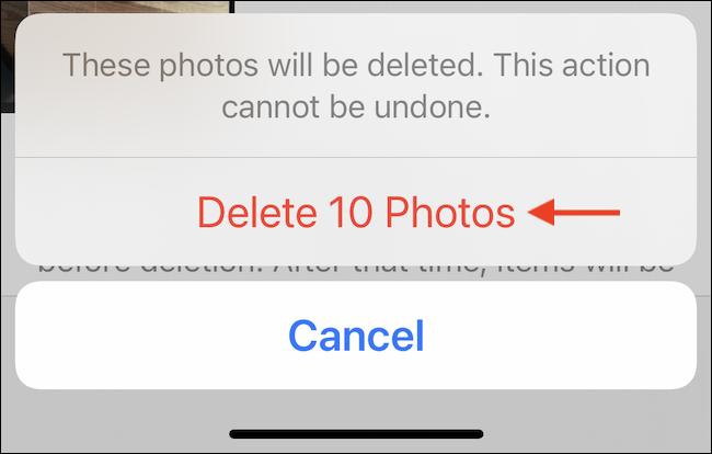 """Toca """"Eliminar fotos"""" o """"Eliminar videos"""" para eliminar permanentemente las fotos del iPhone o iPad."""
