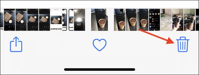 Toque el botón Eliminar (papelera) en la esquina inferior derecha para eliminar la foto o el video.