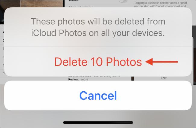 """En la ventana emergente, toque el botón """"Eliminar fotos"""" o """"Eliminar videos"""" para confirmar."""