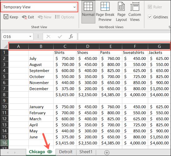 Vista de hoja temporal en Excel