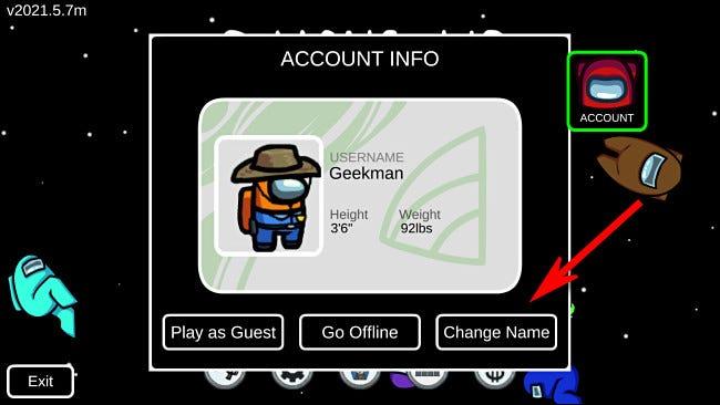 """En Among Us, seleccione """"Cambiar nombre"""" en la pantalla Cuenta para cambiar su nombre, si ha iniciado sesión."""