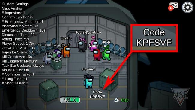 Un ejemplo del código que necesitas para jugar al modo multijugador Among Us en línea con otros.