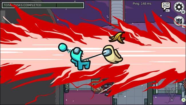 Un ejemplo de la violencia de dibujos animados en Among Us.