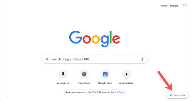 """Haga clic en """"Personalizar"""" para personalizar la página de nueva pestaña de Google Chrome."""