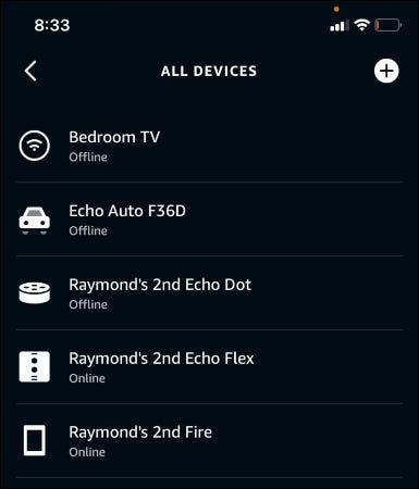 La aplicación Alexa que muestra todos los dispositivos.