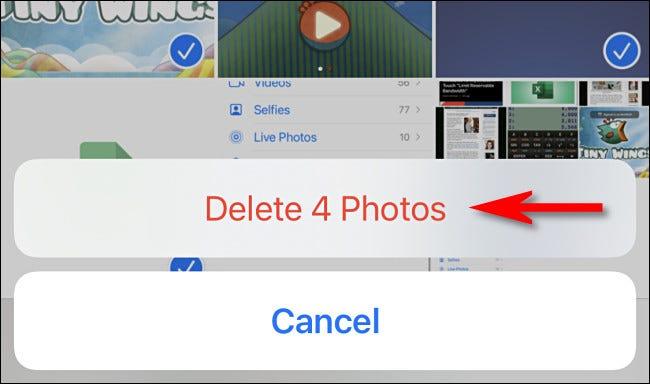 """En la aplicación Fotos del iPhone o iPad, toca """"Eliminar fotos"""" para confirmar la eliminación."""