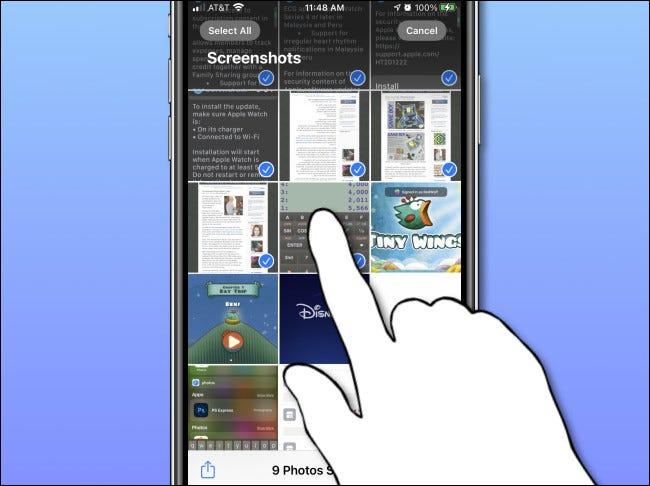 Seleccionar varias fotos en la aplicación Fotos en iPhone.