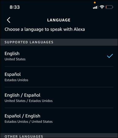 La aplicación Alexa que muestra los idiomas disponibles.