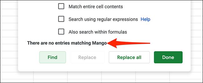 Un ejemplo de sin resultados para la consulta buscada en Hojas de cálculo de Google.