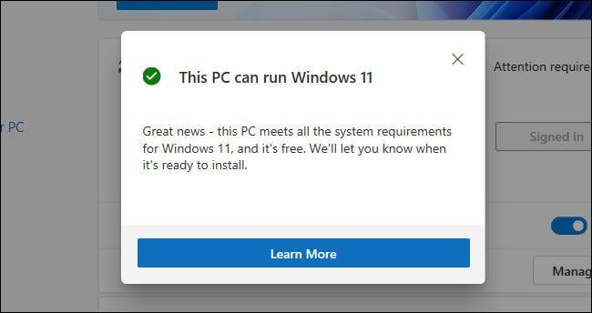 """Un mensaje """"Esta PC puede ejecutar Windows 11"""" en la aplicación PC Health Check"""
