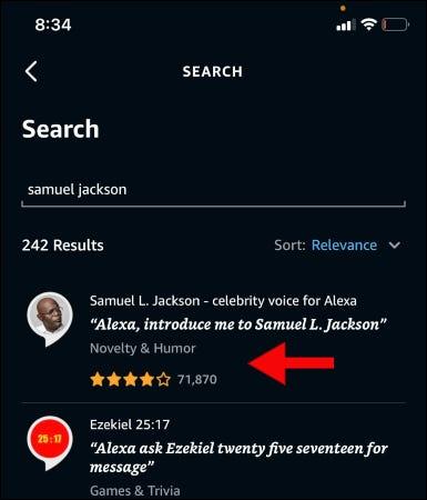 Buscando la voz de Samuel Jackson en la aplicación Alexa.