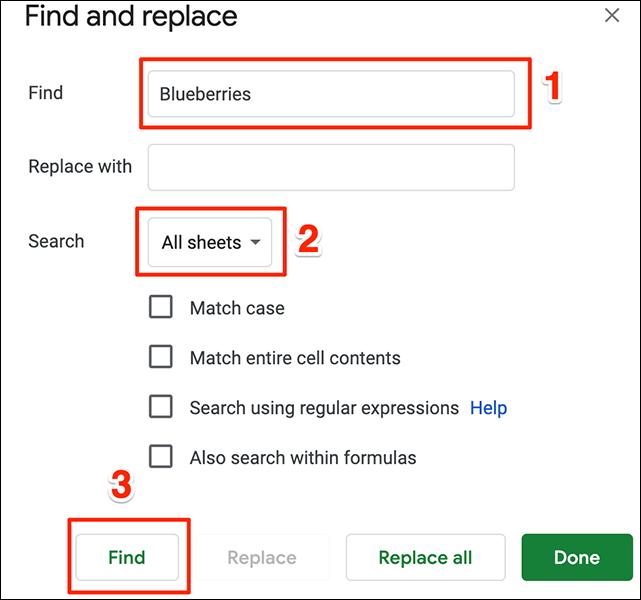 """La ventana """"Buscar y reemplazar"""" en Hojas de cálculo de Google."""