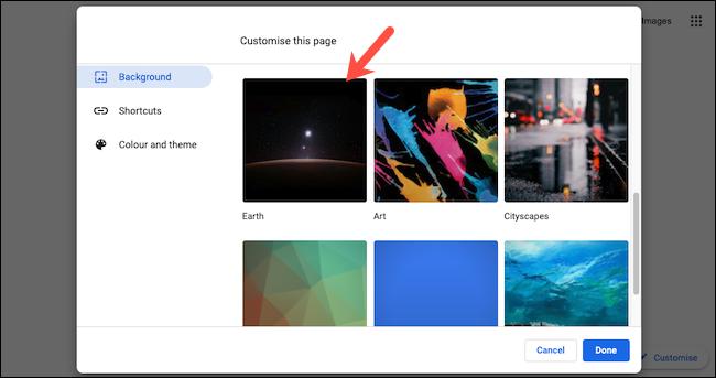 Visualización de colecciones de fondos de pantalla en Google Chrome.