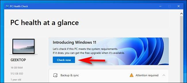 """Haga clic en """"Comprobar ahora"""" en la aplicación PC Health Check."""