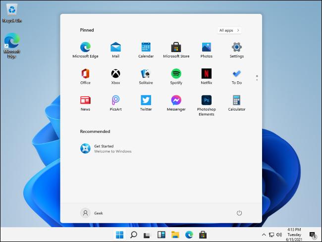 Menú de inicio filtrado de Windows 11