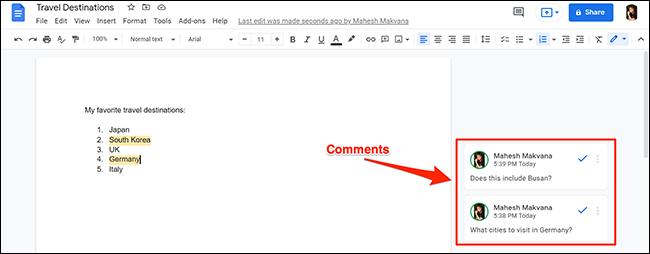 Un documento de Google Docs con comentarios.