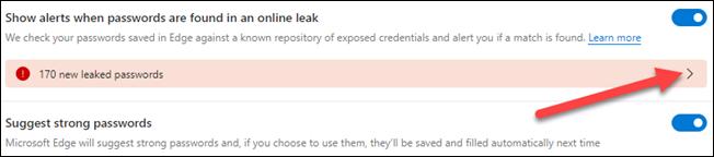 Seleccione el mensaje de contraseñas filtradas.