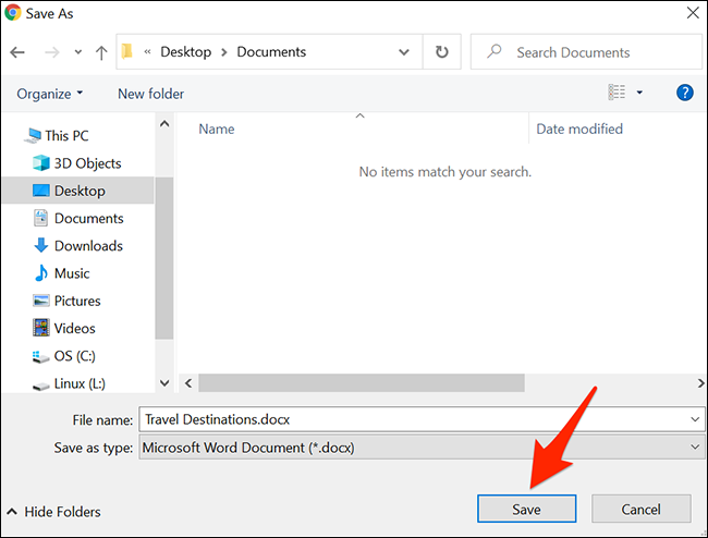 "Haga clic en ""Guardar"" para guardar un documento de Google Docs."