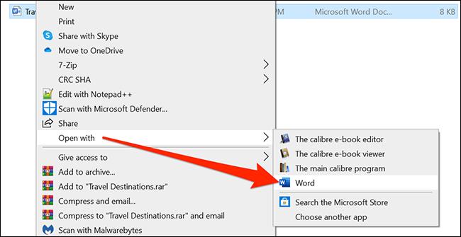 Haga clic con el botón derecho en el documento y seleccione Abrir con> Word.
