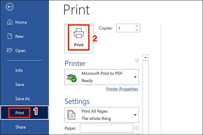 """Seleccione """"Imprimir"""" para imprimir un documento de Word."""