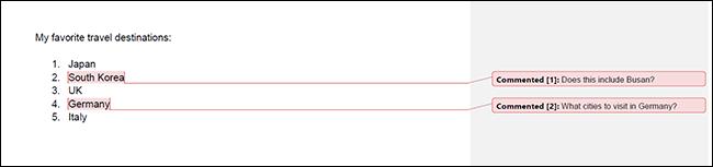 Un documento impreso de Google Docs con comentarios.