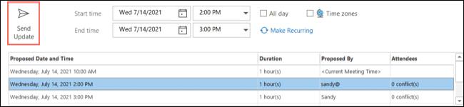 Seleccione una hora y haga clic en Enviar actualización