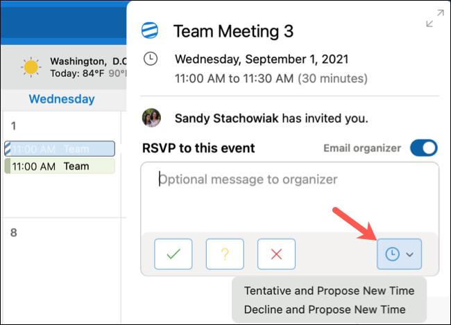 Haga clic en Proponer nueva hora en el calendario de Outlook.